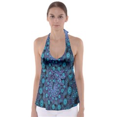 Illusion Spiral Rotation Shape Purple Flower Babydoll Tankini Top