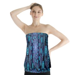 Illusion Spiral Rotation Shape Purple Flower Strapless Top