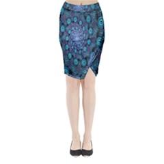 Illusion Spiral Rotation Shape Purple Flower Midi Wrap Pencil Skirt