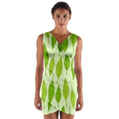 Spring Leaf Green Wrap Front Bodycon Dress