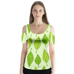 Spring Leaf Green Butterfly Sleeve Cutout Tee