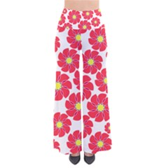 Seamless Floral Flower Red Fan Red Rose Pants