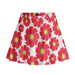 Seamless Floral Flower Red Fan Red Rose Mini Flare Skirt