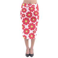 Seamless Floral Flower Red Fan Red Rose Midi Pencil Skirt