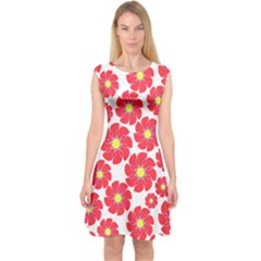 Seamless Floral Flower Red Fan Red Rose Capsleeve Midi Dress