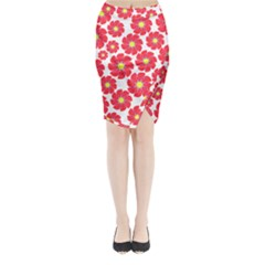 Seamless Floral Flower Red Fan Red Rose Midi Wrap Pencil Skirt