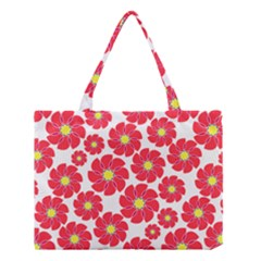 Seamless Floral Flower Red Fan Red Rose Medium Tote Bag