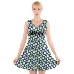 Floral Seamless Flower Blue V-Neck Sleeveless Skater Dress