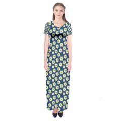 Floral Seamless Flower Blue Short Sleeve Maxi Dress