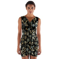 Clipart Chromatic Floral Gold Flower Wrap Front Bodycon Dress