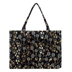 Clipart Chromatic Floral Gold Flower Medium Tote Bag