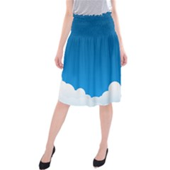 Clouds Illustration Blue Sky Midi Beach Skirt
