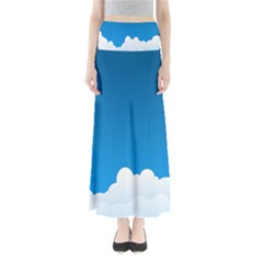 Clouds Illustration Blue Sky Maxi Skirts