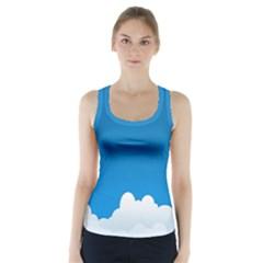 Clouds Illustration Blue Sky Racer Back Sports Top