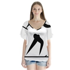 Cross Country Skiing Pictogram Flutter Sleeve Top