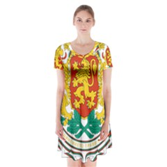 Coat of Arms of Bulgaria Short Sleeve V-neck Flare Dress