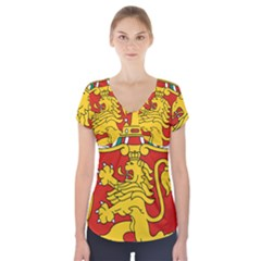 Lesser Coat of Arms of Bulgaria  Short Sleeve Front Detail Top