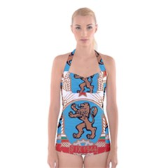 Coat of Arms of Bulgaria (1968-1971) Boyleg Halter Swimsuit
