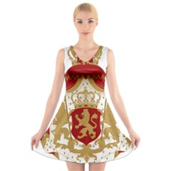 Coat of Arms of Bulgaria (1881-1927) V-Neck Sleeveless Skater Dress