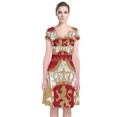 Coat of Arms of Bulgaria (1881-1927) Short Sleeve Front Wrap Dress