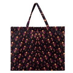 Skulls In The Dark Night Zipper Large Tote Bag