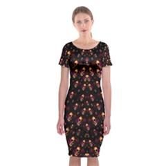 Skulls In The Dark Night Classic Short Sleeve Midi Dress
