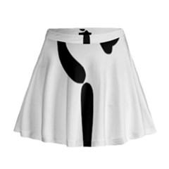 Figure Skating Pictogram Mini Flare Skirt