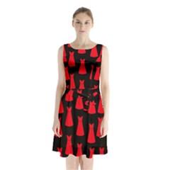 Dresses Seamless Pattern Sleeveless Chiffon Waist Tie Dress