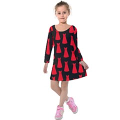 Dresses Seamless Pattern Kids  Long Sleeve Velvet Dress