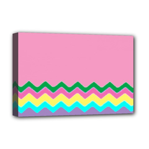 Easter Chevron Pattern Stripes Deluxe Canvas 18  x 12