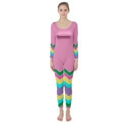 Easter Chevron Pattern Stripes Long Sleeve Catsuit