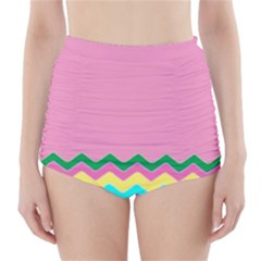 Easter Chevron Pattern Stripes High-Waisted Bikini Bottoms