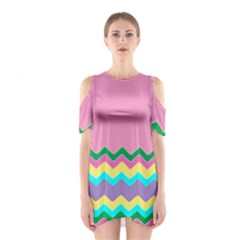 Easter Chevron Pattern Stripes Shoulder Cutout One Piece