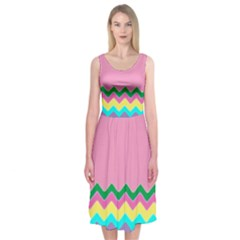 Easter Chevron Pattern Stripes Midi Sleeveless Dress