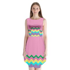 Easter Chevron Pattern Stripes Sleeveless Chiffon Dress