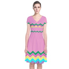 Easter Chevron Pattern Stripes Short Sleeve Front Wrap Dress