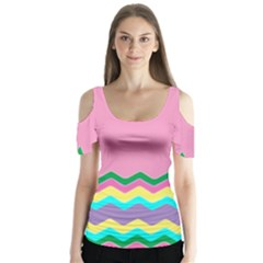 Easter Chevron Pattern Stripes Butterfly Sleeve Cutout Tee