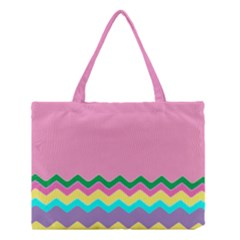 Easter Chevron Pattern Stripes Medium Tote Bag