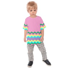 Easter Chevron Pattern Stripes Kids  Raglan Tee