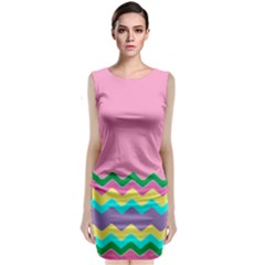 Easter Chevron Pattern Stripes Sleeveless Velvet Midi Dress