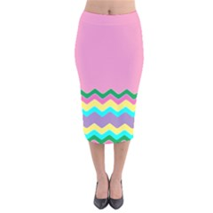 Easter Chevron Pattern Stripes Velvet Midi Pencil Skirt