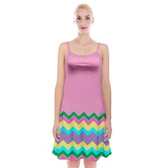 Easter Chevron Pattern Stripes Spaghetti Strap Velvet Dress