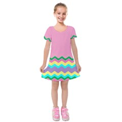 Easter Chevron Pattern Stripes Kids  Short Sleeve Velvet Dress