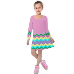 Easter Chevron Pattern Stripes Kids  Long Sleeve Velvet Dress
