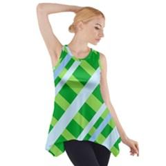 Fabric Cotton Geometric Diagonal Side Drop Tank Tunic
