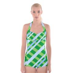 Fabric Cotton Geometric Diagonal Boyleg Halter Swimsuit