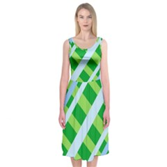 Fabric Cotton Geometric Diagonal Midi Sleeveless Dress