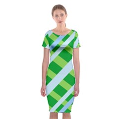 Fabric Cotton Geometric Diagonal Classic Short Sleeve Midi Dress
