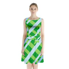 Fabric Cotton Geometric Diagonal Sleeveless Chiffon Waist Tie Dress