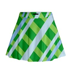 Fabric Cotton Geometric Diagonal Mini Flare Skirt